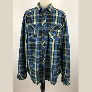 BKE Buckle Mens Plaid Snap Front Button Down Shirt